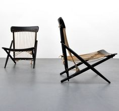 Anonymous; Lacquered Wood and Rope Lounge Chairs by Maruni, 1950s.