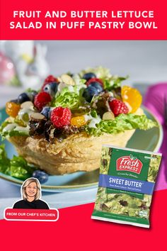 Craving something sweet? You'll love this Fruit & Butter Lettuce Salad in Puff Pastry Bowl. Made with our popular Sweet Butter Lettuce, mandarin oranges, raspberries, blackberries, sliced almonds and Lemon Mascarpone Dressing, it'll make you reach for more! Mandarin Oranges, Sweet Butter, Fruit In Season, Sliced Almonds, Blackberries, Something Sweet, Lettuce, Lemon, Dressing