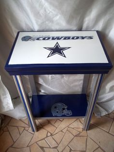 Dallas Cowboys Inspired Sports Table, NFL, Football, Man Cave Decor, End Table, Side Table, Accent Table, Blue, White, Star, Gifts for Men by drSportsCaves on Etsy https://www.etsy.com/listing/210271059/dallas-cowboys-inspired-sports-table-nfl