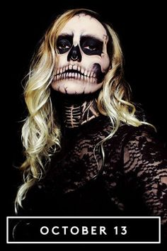 31 Days Of Halloween Beauty Inspiration #refinery29  http://www.refinery29.com/2015/10/94974/halloween-makeup-hair-inspiration-pictures#slide-13  Make Your Own SkeletonA skeleton isn't necessarily an original costume, but what if we told you one Reddit user created a spooky realistic rendition solely using eyeliner and eyeshadow? Pretty impressive, no? It apparently took seven hours to make (and the commitment definitely shows), so only partake if you have some serious time to spare…