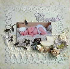 Cherish - Scrapbook.com - Use fussy cut vines that look like letters to represent babies name in a layout.