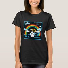 Shop Angel Paws Rainbow Memorial T-Shirt created by thepawkinglot. Creature Comforts, Pet Shop, Wardrobe Staples, Colorful Backgrounds, Fitness Models, Rainbow, Angel, Memories, Tees