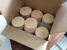 I ordered 60 of these wooden coasters to create the LEGO-doors. Found them on eBay.