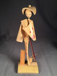 Japanese Bamboo Doll/ Figure Woman Carrying A Shamisen