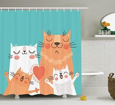 funny cat decor - Funny Decor Shower Curtain Set By Ambesonne, Cute Kitten Couple Sweet Happy Paws Loving Heart With Family Cats Poster Style Animal Art Theme, Bathroom Accessories, 69W X 70L Inches, Multi -- To view further for this item, visit the image link. (This is an affiliate link) #FunnyCats