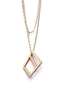 HYD3-1NG.  WOODEN DIAMOND necklace from multilayer wood with birch veneer.  34€ via turinajewellery.com