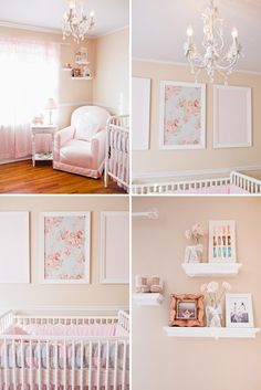 pink peach and white nursery. I like the framed fabric. Might try this for Jo. Love the picture frame and fabric