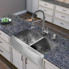 This faucet features a spray face that resists mineral buildup and is easy-to-clean. The farmhouse sink is rust resistant and the faucet features a dual function spiral pull-out spray head for aerated flow or a powerful spray.