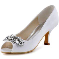 9b31aec7265 ElegantPark Womens Peep Toe Mid Heel Pumps Rhinestiones Satin Wedding  bridal Shoes White US 8    Learn more by visiting the image link.