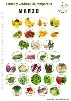 Frutas y verduras de temporada para marzo