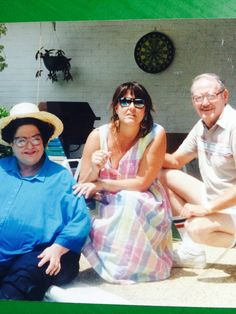 Mom dad and me by the pool