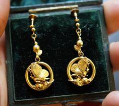 New. Sweet butterfly earrings c1900. Modelled in 15ct gold. Instagram shop link in bio!