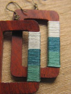 Rectangular Large Wooden Earrings by sunsouljewelry Wooden Earrings, Wooden Jewelry, Diy Earrings, Wooden Beads, Handmade Jewelry, Square Earrings, Jewelry Crafts, Jewelry Art, Beaded Jewelry