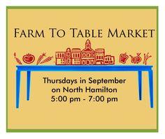 Don't miss Farm to Table Market every Thursday in September! #DowntownDalton