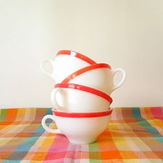 Retro 1950 Pyrex Coral  Pink Cups Coffee Tea by slatternhouse5