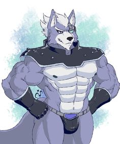 e621 anthro biceps big_muscles bulge canine male mammal muscular muscular_male nintendo pecs solo star_fox steven_ciervyena video_games wolf wolf_o'donnell