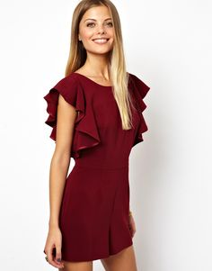 $59, Playsuit With Ruffle And Low Back by Asos. Sold by Asos. Click for more info: http://lookastic.com/women/shop_items/110232/redirect