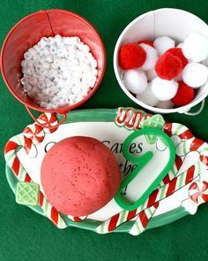 This peppermint play dough recipe is a delight for the senses! Fun Christmas play dough invitation for preschool and kindergarten