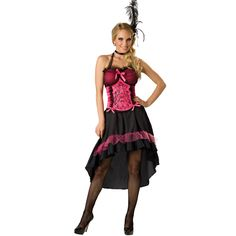 For any cowboy hot off the dusty trail, this hot barmaid will quench your thirst for drink and entertainment. Our Sexy Saloon Gal Adult Costume features a black graduated length hemline skirt of classy black trimmed in hot pink with pink netting ruffle accenting the hemline. An adjustable corset of hot pink with black filigree that features black netting ruffles, black netting cup overlay, satin pink bow accents, and a halter strap add to the sex appeal of this sexy saloon girl costume. This…
