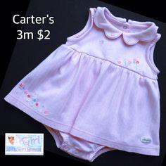 Carter's 3m Infant Girls Cute Onesie Dress $2