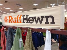 Canvas Sign Substrate on Rust Color Rack Retail Fixtures, Ruff Hewn, Canvas Signs, Wedding Signage, Rust Color, Cotton Canvas, Banners, Bae, Branding
