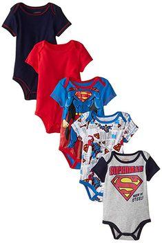 d2bdcbc4a2a7 Baby Baby-Boys Newborn Boy Superman 5 Pack Creeper Blue 6-