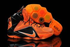 newest e7529 3980b Womens and Kids Lebron 12 ID XII Bright Citrus Total Orange Black Orange  Basketball Shoes,