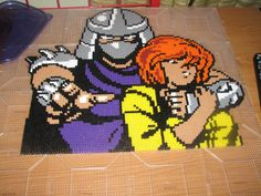 TMNT Shredder and April perler beads by ndbigdi on deviantART