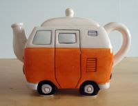 VW Teapot - ORANGE -Mom & Dad had a real one of these in the 70s!  Mom made orange gingham curtains!