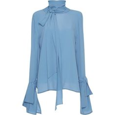 Paule Ka Long Sleeve Blouse ($395) ❤ liked on Polyvore featuring tops, blouses, marni, blue, blue blouse, dice kayek, blue top, long sleeve blouse and crew neck blouse