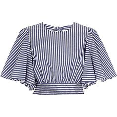 Blue stripe print frill sleeve crop top £ - My CMS Teen Fashion Outfits, African Fashion Dresses, Casual Outfits, Designs For Dresses, Crop Top Outfits, Schneider, Trendy Tops, Classy Dress, Blouse Designs