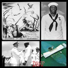 """Daily Black History Facts  December 7, 1941: Doris """"Dorie"""" Miller, a cook, shot down several Japanese planes from the deck of the USS Arizona during the attack on Pearl Harbor, Hawaii."""