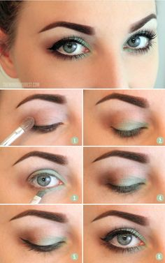 Step by step, how to get that smokey eye with a pop of color. Experiment by changing the green to purple!