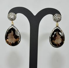 Smokey Topaz Pear Shape Gemstone Studded Earrings Made In .925 Sterling Silver