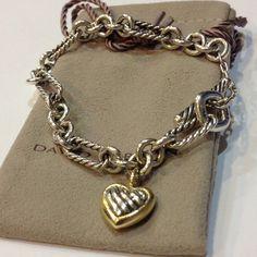 "8"" DAVID YURMAN STERLING SILVER & 18k GOLD FIGARO CABLE HEART BRACELET #DavidYurman #link"