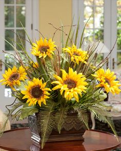Yellow Silk Sunflower & Fern Centerpiece | High Quality Artificial Floral Arrangements