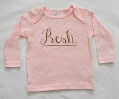 Presh - Baby Long Sleeve Shirt - Pink Long Sleeve Baby Shirt by ModFox on Etsy https://www.etsy.com/listing/211083009/presh-baby-long-sleeve-shirt-pink-long