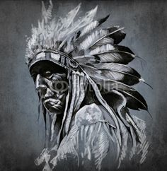 Tattoo art, portrait of american indian head over dark backgroun© Fernando Cortés