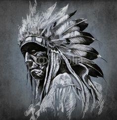 Tattoo art, portrait of american indian head over dark backgroun© Fernando Cortés