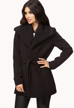 Belted Broad Collar Coat | FOREVER21 - 2027706027