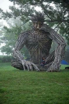 Another amazing driftwood sculpture by Paul Baliker. Driftwood Sculpture, Outdoor Sculpture, Driftwood Art, Outdoor Art, Sculpture Art, Sculptures, Art Environnemental, Jardin Decor, Art Et Nature