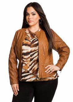5a492086ee8 Ashley Stewart Women s Plus Size Quilted Faux Leather Jacket Off Road Tan 18  20 Ashley