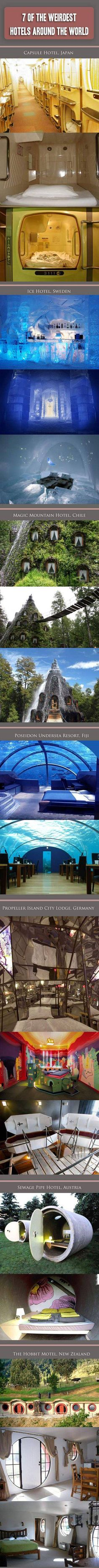 hen is a hotel, not just some place you go for rest and relaxation? When the hotel is located underwater and has a clear glass canopy over each room that lets guests view the ocean life around them. Here are 7 more weird hotels that think outside the box.
