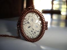 Lucky Charm Lace Locket Three Leaf Clover by kalypsocreations, $29.00