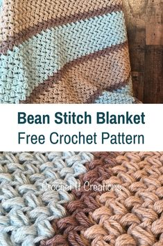 Crochet Afghans Easy Easy Bean Stitch Crochet Blanket- Free Pattern - Knit And Crochet Daily Crochet Stitches Patterns, Knitting Patterns Free, Free Pattern, Doodle Patterns, Embroidery Patterns, Hand Embroidery, Crochet For Beginners Blanket, Knitting For Beginners, Simple Crochet Blanket