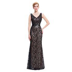 34.59$  Know more - Kate Kasin Womens Summer Dress Double V Neck Black Mermaid Dress Wedding 2017 Luxury Sequin Women Formal Dress Robes Satin Gown   #magazine