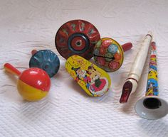 Vintage Lot of Seven  NOISEMAKERS 1940s by vintagous on Etsy, $35.00