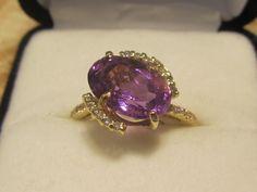 Amethyst and diamond ring www.melodysqualityjewelry.com