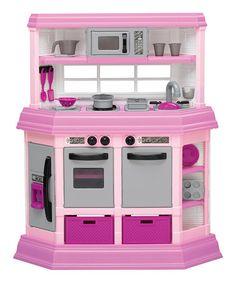 This Pink Play Kitchen is perfect! #zulilyfinds
