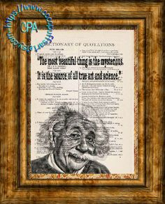 Albert Einstein Drawing - Beauty of Art & Science Quote - Vintage Dictionary Page Art Print Upcycled Page Print, Scientist Print by CocoPuffsArt on Etsy